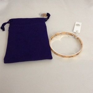 TORY BURCH Pierced T Skinny Bangle Gold
